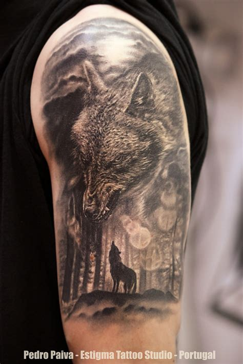 wolf and moon tattoo pedro paiva certified artist