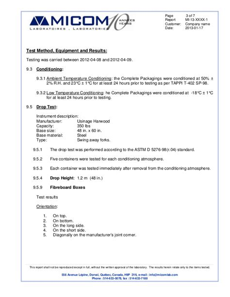 water analysis report template packaging test report sle