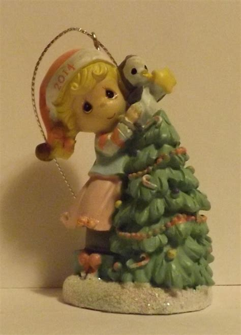 precious moments girl at christmas tree 2014 ornament