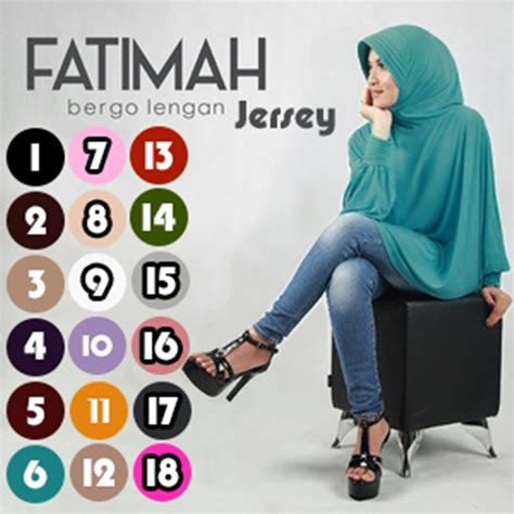 Syari Fatma Biru syar i fatimah bergo lengan jersey model 2018