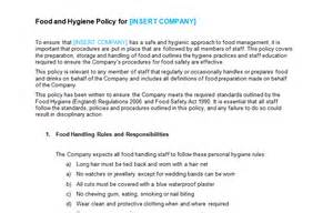 Food Safety Policy Template by Food And Hygiene Policy Template Bizorb