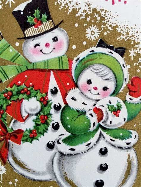 brightly colored cute snowman couple  vintage christmas greeting card christmas