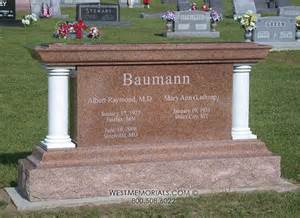 granite monuments baumann with white marble columns headstone in sunset granite