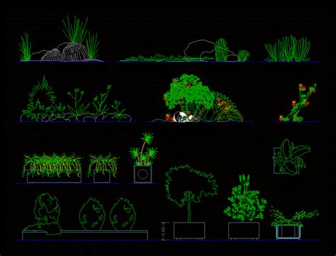 Architectural Building Plans by Plants Trees Shrubs Decorative Pots In Elevation 2d Dwg
