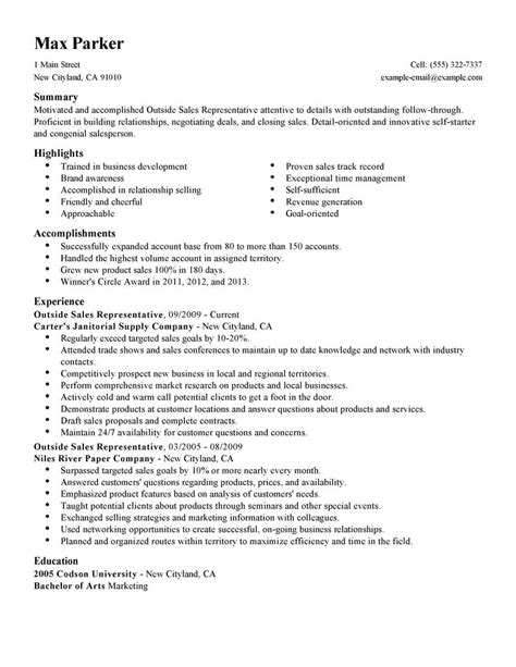 Best Resume For Sales Position by Best Outside Sales Representative Resume Exle Livecareer