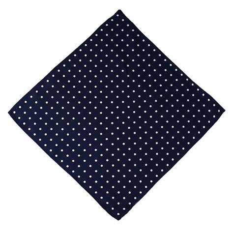 lucky sunday rawis square navy navy blue white silk polka dot handkerchief square