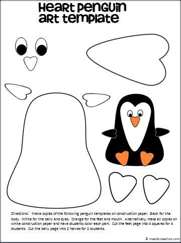 cute penguin free art template | teacher ideas | pinterest