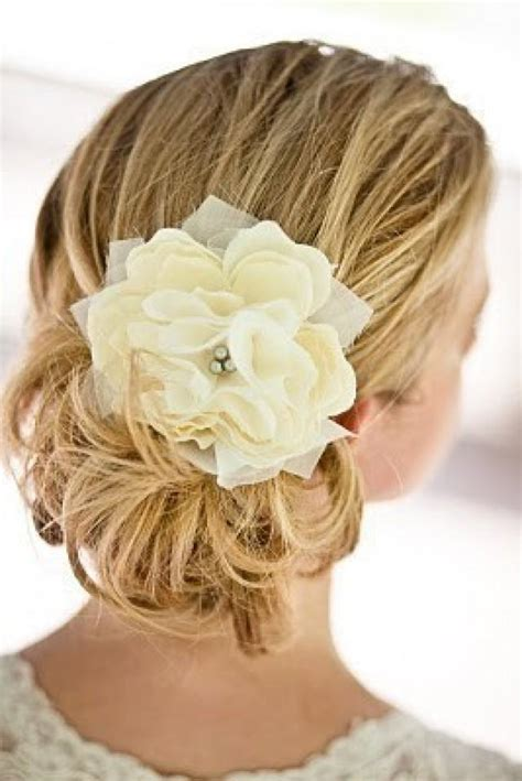 Wedding Hair Flowers Small by Small Pacific Ivory Peony Bridal Hair Flower With Silver