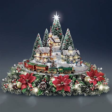 thomas kinkade lights sounds animated christmas floral