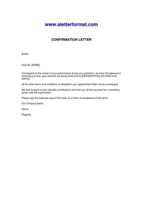 Confirmation Letter Mail To Hr employee confirmation letter format the letter sle