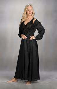 set long black nightie and lace negligee silhouette