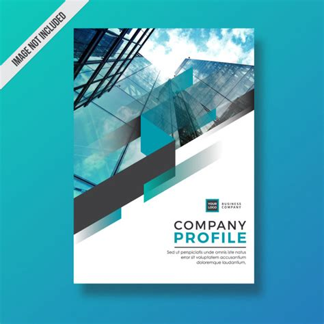 design your company profile cyan modern abstract element company profile design vector