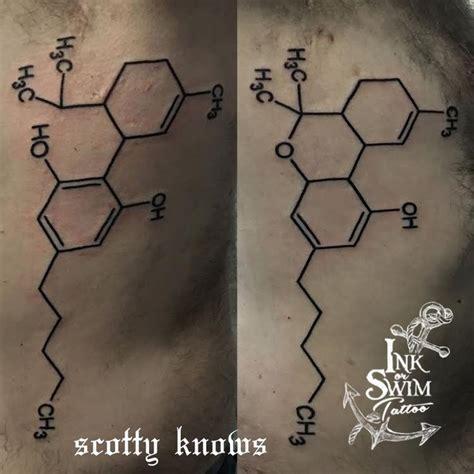 thc molecule tattoo thc and cbd molecules inkorswimtattoo scotty