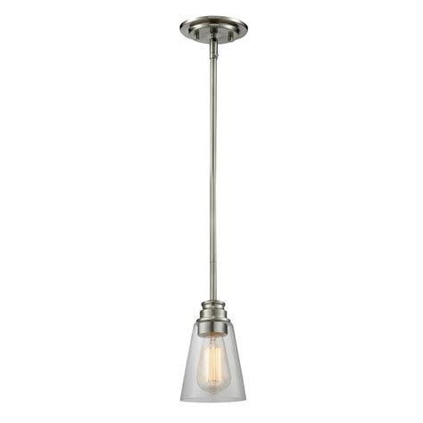 Nickel Mini Pendant Light Filament Design 1 Light Brushed Nickel Mini Pendant Cli Jb040562 The Home Depot