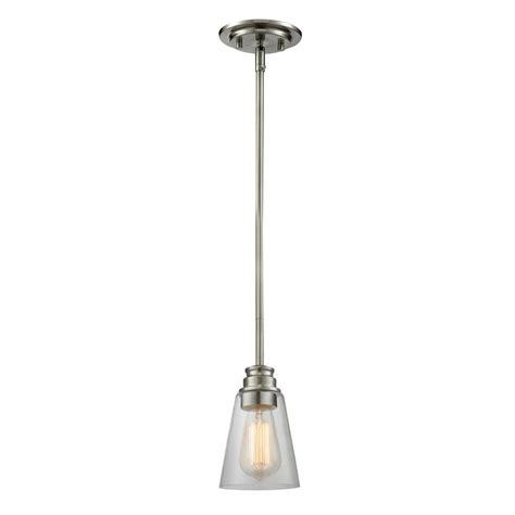 Nickel Mini Pendant Light Filament Design 1 Light Brushed Nickel Mini Pendant Cli Jb040562 The Home Depot