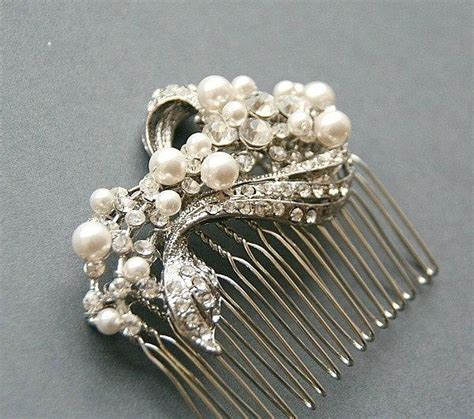vintage bridal pearl hair comb bridal vintage hair comb rhinestone hair comb swarovski