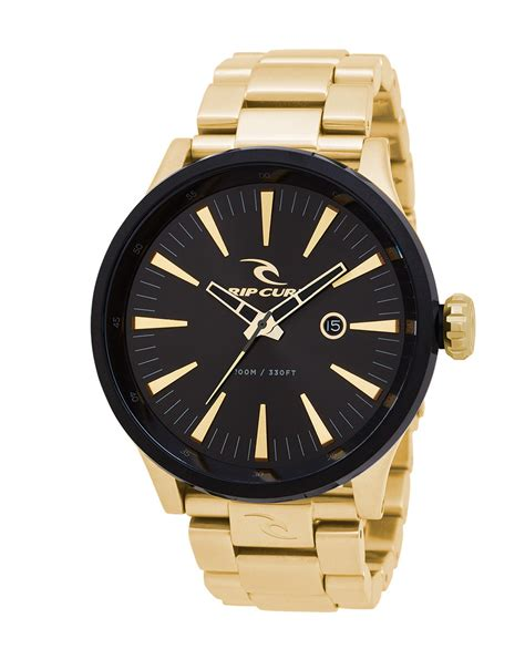 Rip Curl Stainless Black Gold recon xl gold sss mens surf style watches rip curl