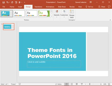 theme fonts list theme fonts in powerpoint 2016 for windows