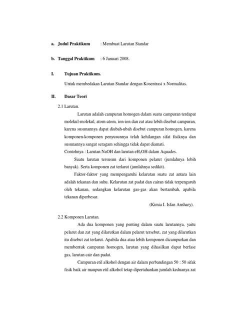 laporan praktikum kimia membuat larutan dari zat padat membuat larutan standar