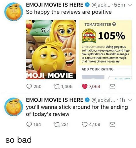emoji film raten emoji movie is here 55m v so happy the reviews are