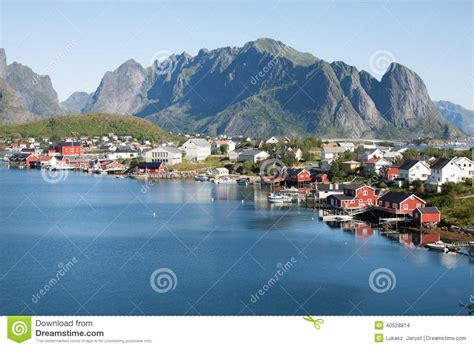 scenic town scenic town of reine on lofoten islands in norway stock