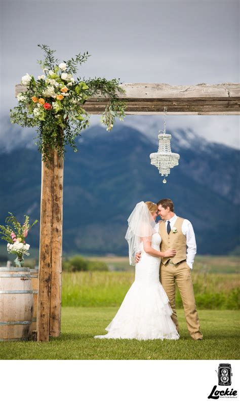 Yellow Barn Rustic Wedding Archway Top Montana Wedding Photographers