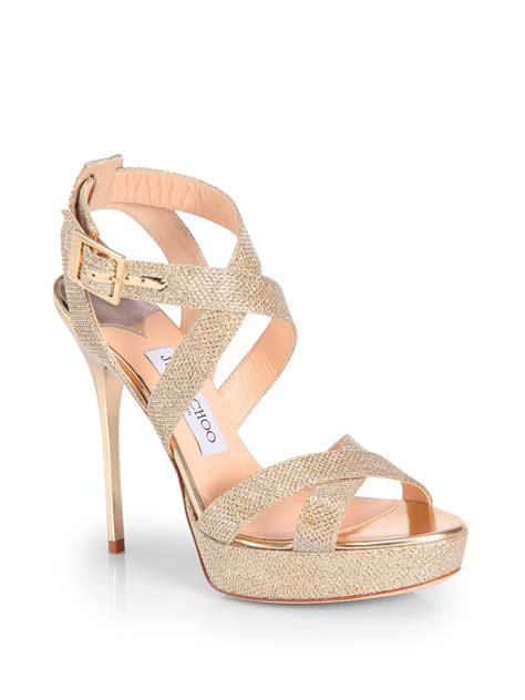 jimmy choo platform sandals jimmy choo v glitter lam 201 platform sandals in gold lyst