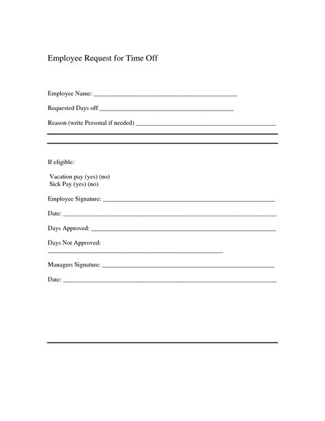 employee request form template best photos of time request letter sle time
