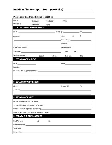 worksite incident injury report form forms and