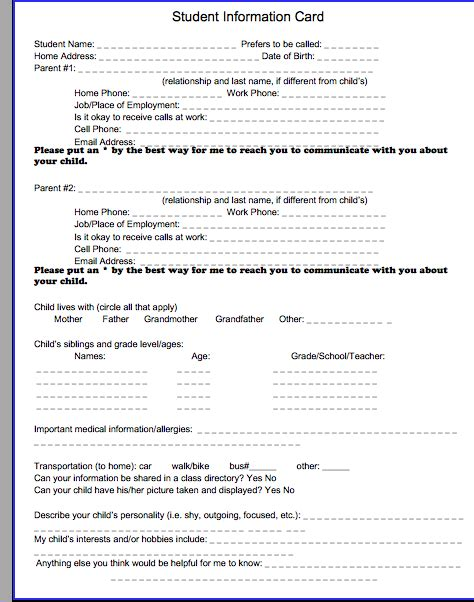 student information card template student information form new calendar template site