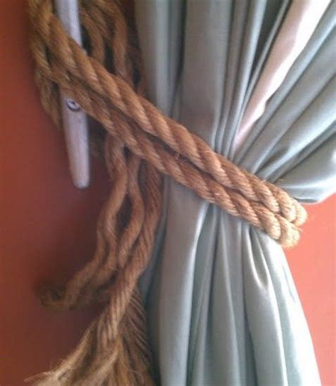 nautical curtain tie back hooks rope and a horn cleat perfect for his nautical beach