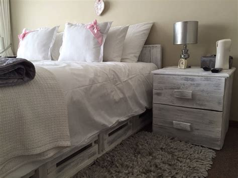 on your side of the bed wood pallet bed with side tables