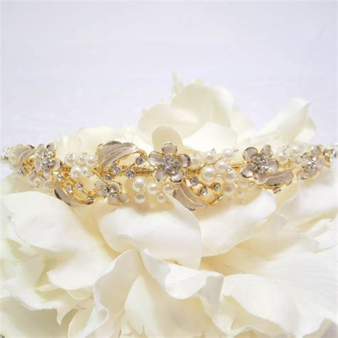 Wedding Headpiece White And Gold gold headband bridal headband bridal headpiece wedding