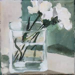 Square Black Vase Flowers In Glass Vase Original Oil Painting Floral Still
