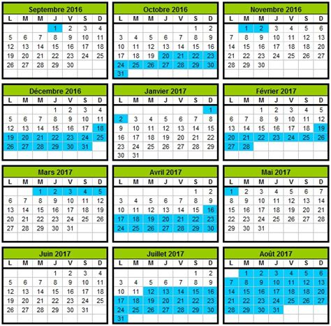 Calendrier 2018 Geneve Calendrier Scolaire 2016 2017