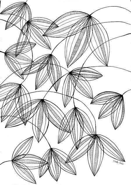 Plant illustration, black and white pen print art, flower