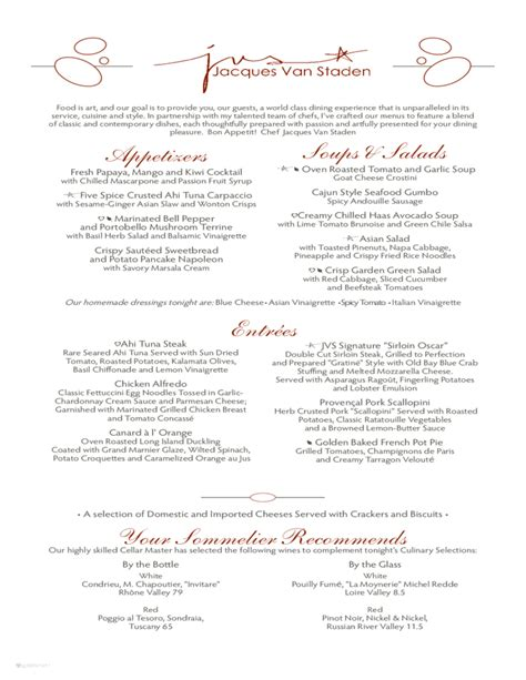 pin sle formal dinner menu on