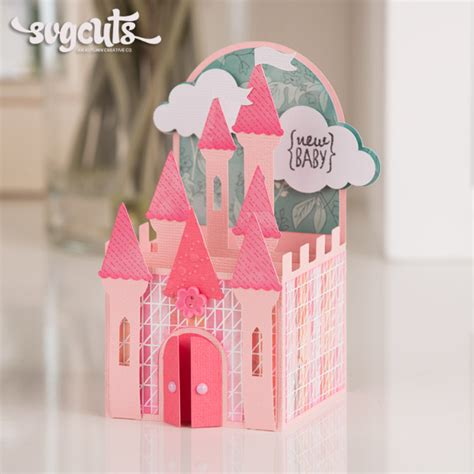 Gift Card Holder Castle Template box cards svg kit svgcuts