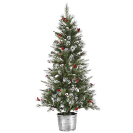 walmart christmas trees potted 5 frosted pine cone and berry potted artificial tree unlit walmart