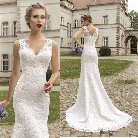 brautkleider meerjungfrau schlicht 2015 simple classic delicate v neck sheer lace slim