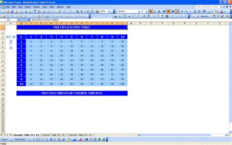 Tables Exles by Multiplication Table Excel Templates