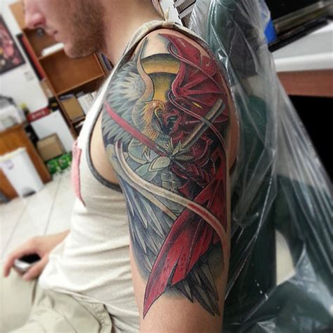 colored tattoos for men left half sleeve colored for