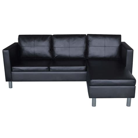 3 seat sectional sofa 3 seater l shaped artificial leather sectional sofa black