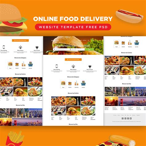 online food delivery website template free psd download