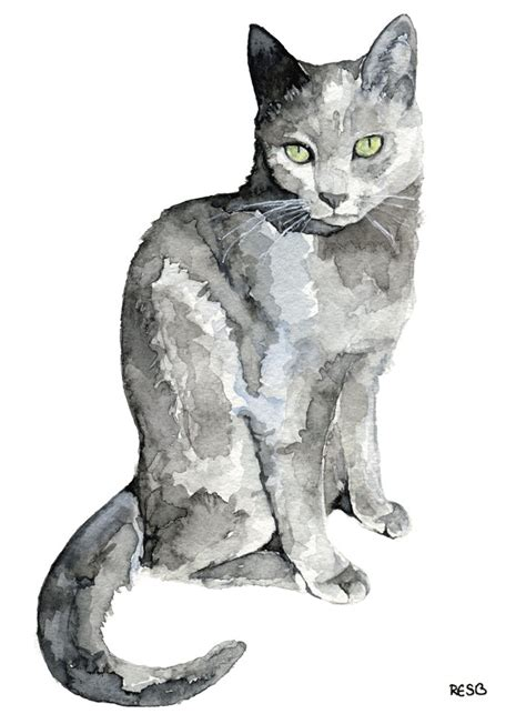 grey cat painting print from my original watercolor painting