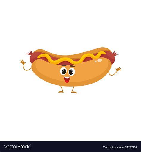 funny hot dog pic funny hot dog fast food kids menu character vector image