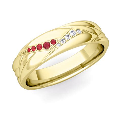wave mens wedding band in 14k gold and ruby ring