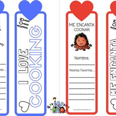 printable bookmarks in spanish bilingual cookbook for learning english and spanish