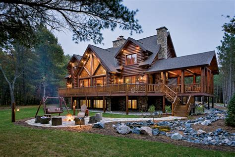 all american log home crockett log homes plans kits logs make the difference a waterfront retreat in wisconsin