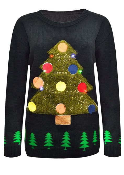 tree sweater with lights womens unisex tree light up rudolph